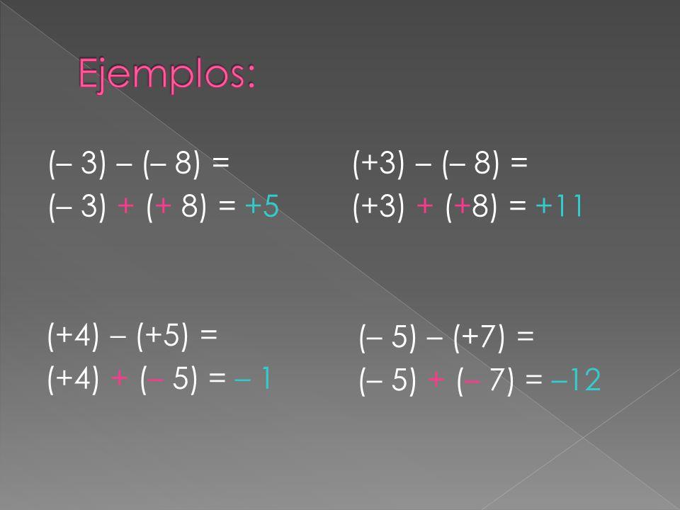 (– 3) – (– 8) = (– 3) + (+ 8) = +5 (+3) – (– 8) = (+3) + (+8) = +11 (+4) – (+5) = (+4) + (– 5) = – 1 (– 5) – (+7) = (– 5) + (– 7) = –12