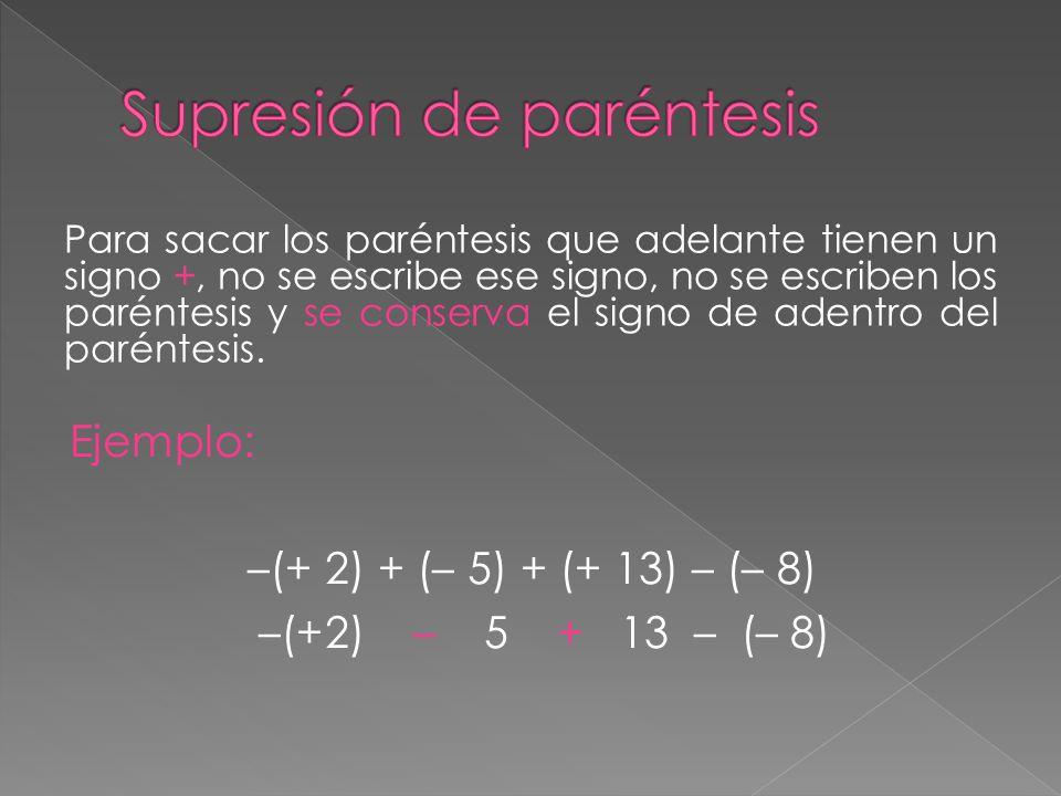 Para sacar los paréntesis que adelante tienen un signo +, no se escribe ese signo, no se escriben los paréntesis y se conserva el signo de adentro del