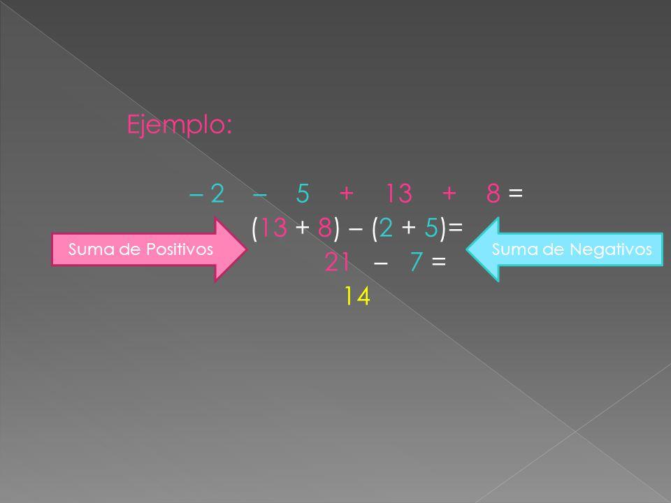 Ejemplo: – 2 – 5 + 13 + 8 = (13 + 8) – (2 + 5)= 21 – 7 = 14 Suma de PositivosSuma de Negativos