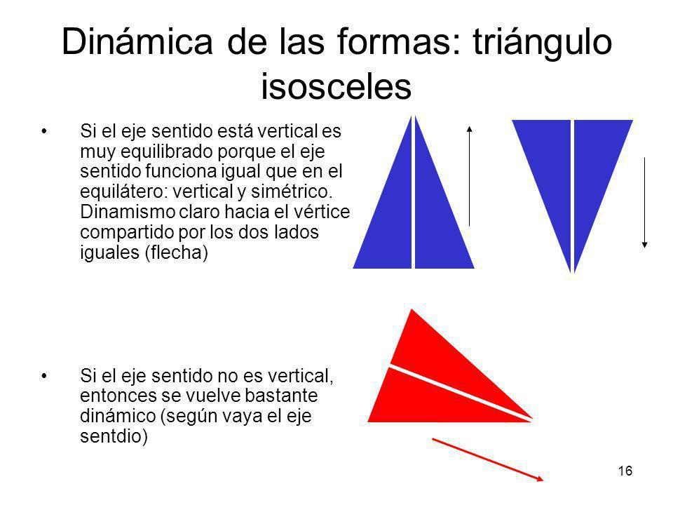 17 Dinámica de las formas: triángulo escaleno Es el más dinámico de los tres, porque el eje sentido no es nunca vertical Su dinamismo varía según sea un lado u otro el dominante