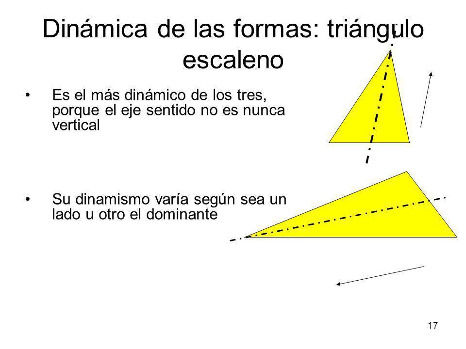 18 Dinámica de las formas: El caso especial del triángulo rectángulo El triángulo rectángulo es un tipo de triángulo (escaleno o isósceles) que tiene uno de los vértices en angulo recto Cuando apoya en uno de los lados que forman el ángulo recto, es enórmemente equilibrado, porque su otro lado queda vertical.
