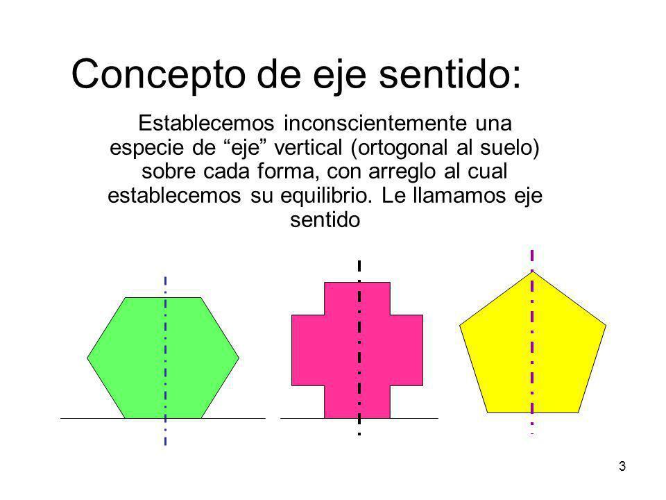 4 El eje sentido nos permite comprender cómo las formas se alejan de lo vertical y adquieren dinamismo, tensión, etc En el caso de las dos formas rojas, su eje sentido está claramente desequilibrado.