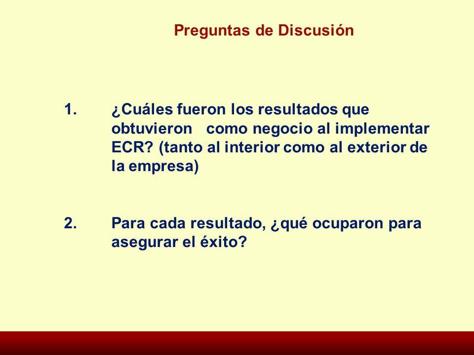 Preguntas de Discusión 1. ¿Cuáles fueron los resultados que obtuvieron como negocio al implementar ECR? (tanto al interior como al exterior de la empr