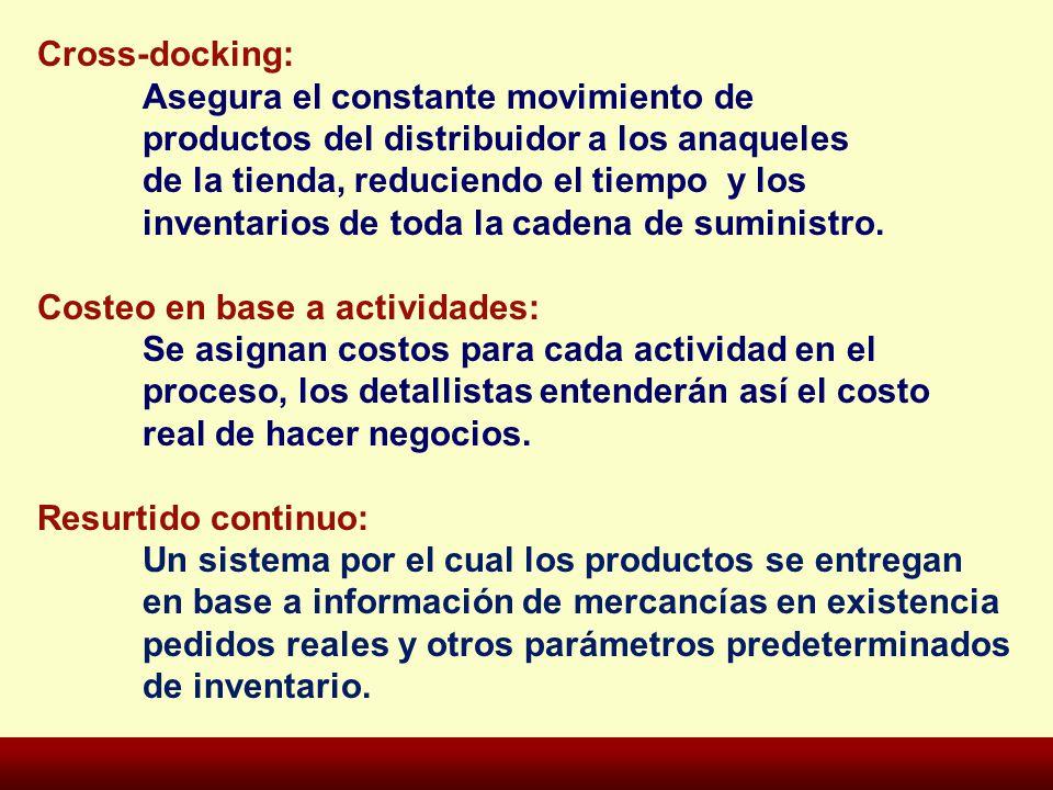 Cross-docking: Asegura el constante movimiento de productos del distribuidor a los anaqueles de la tienda, reduciendo el tiempo y los inventarios de t
