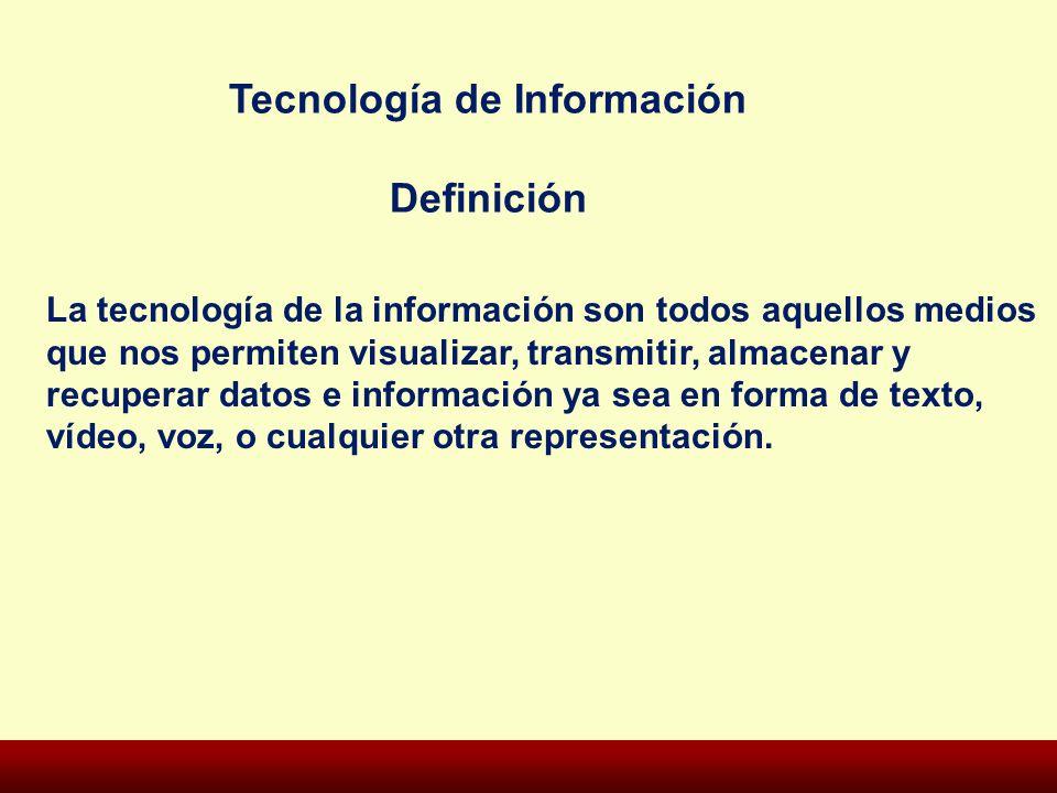 La tecnología de la información son todos aquellos medios que nos permiten visualizar, transmitir, almacenar y recuperar datos e información ya sea en