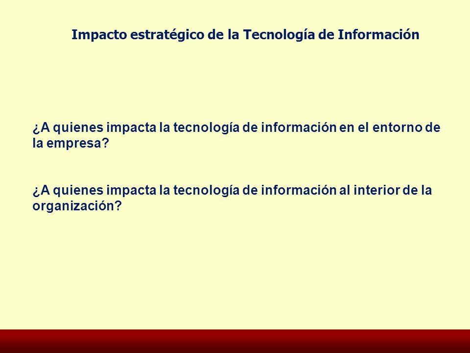 Impacto estratégico de la Tecnología de Información ¿A quienes impacta la tecnología de información en el entorno de la empresa? ¿A quienes impacta la