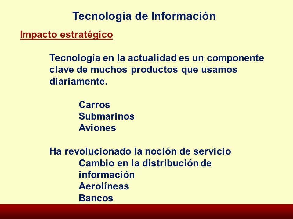 Tecnología de Información Impacto estratégico Tecnología en la actualidad es un componente clave de muchos productos que usamos diariamente. Carros Su
