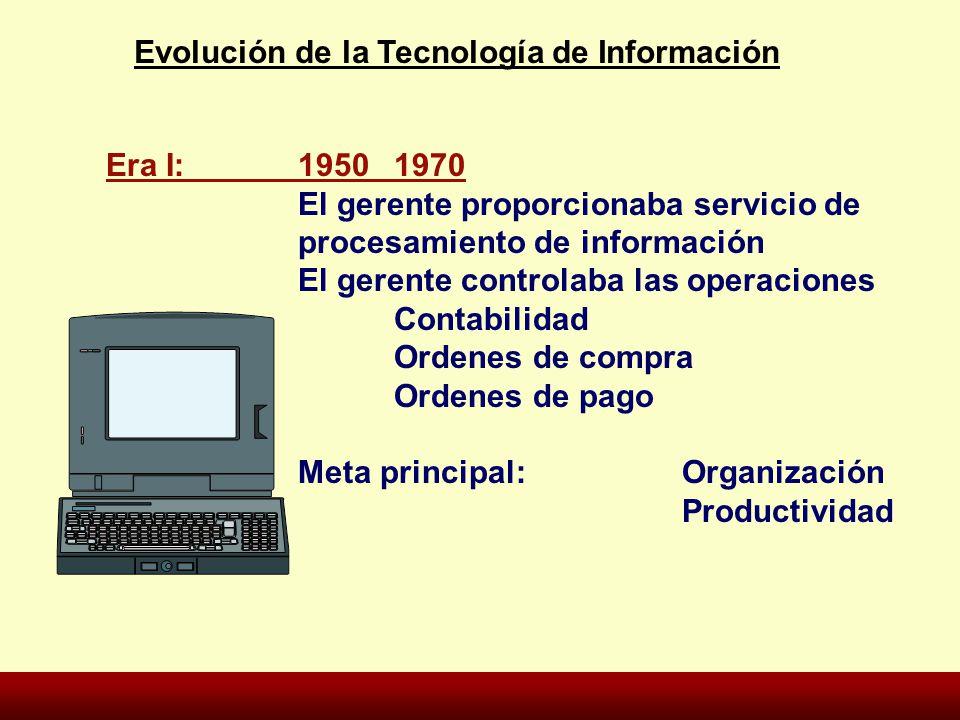 Era I:19501970 El gerente proporcionaba servicio de procesamiento de información El gerente controlaba las operaciones Contabilidad Ordenes de compra