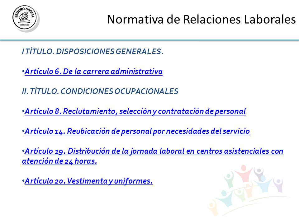 Normativa de Relaciones Laborales I TÍTULO. DISPOSICIONES GENERALES.