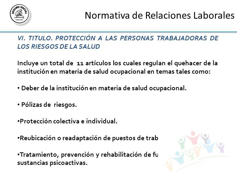 Normativa de Relaciones Laborales VI. TITULO.
