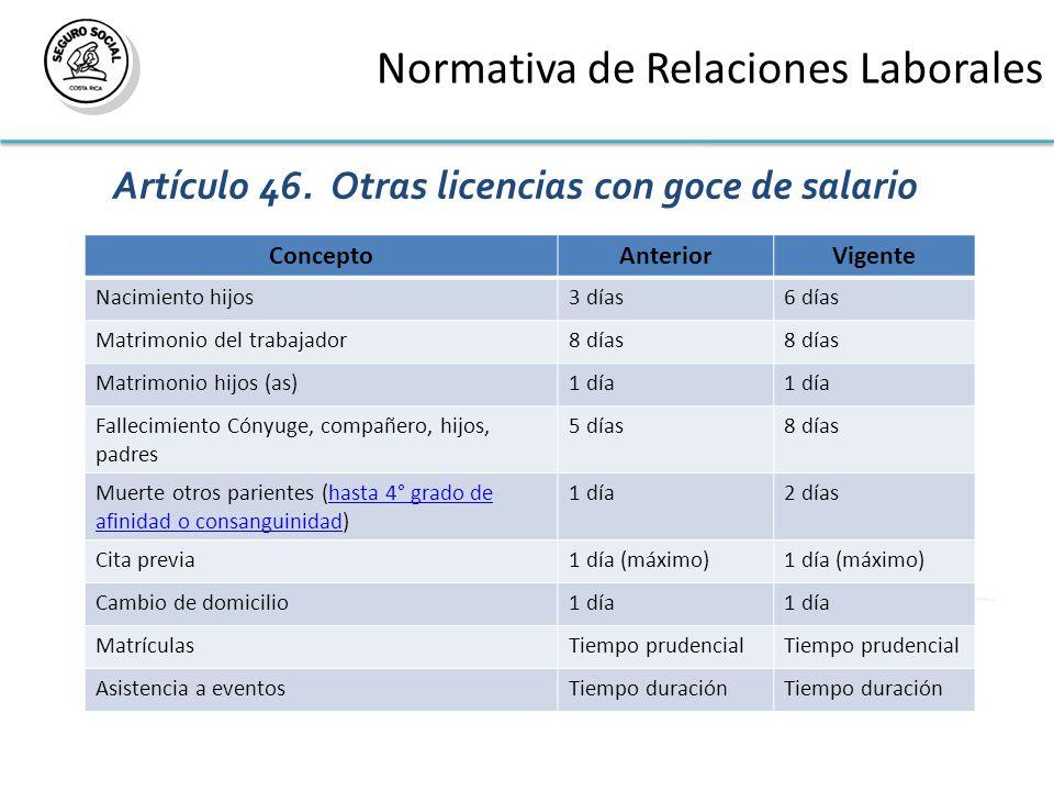 Normativa de Relaciones Laborales Artículo 46. Otras licencias con goce de salario.
