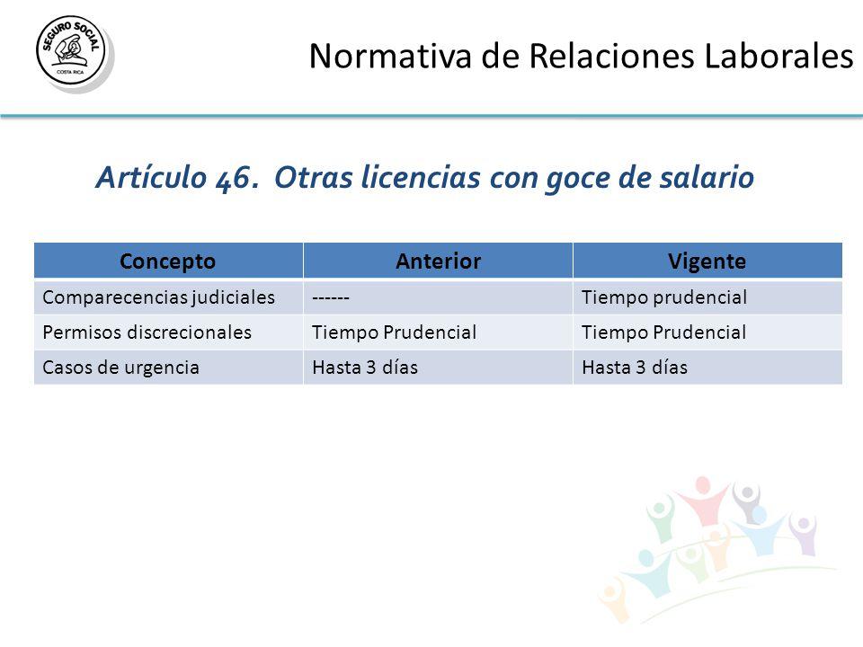 Normativa de Relaciones Laborales Artículo 46.