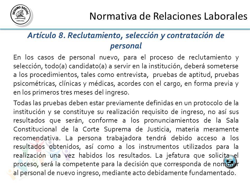 Normativa de Relaciones Laborales Artículo 8.