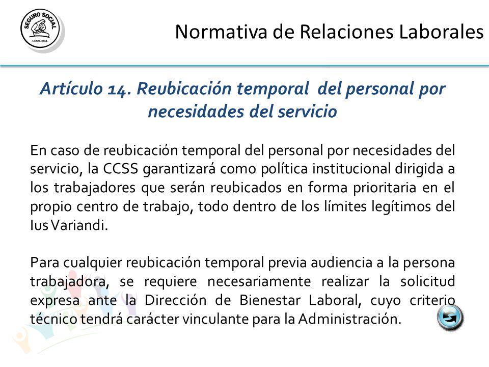 Normativa de Relaciones Laborales Artículo 14.