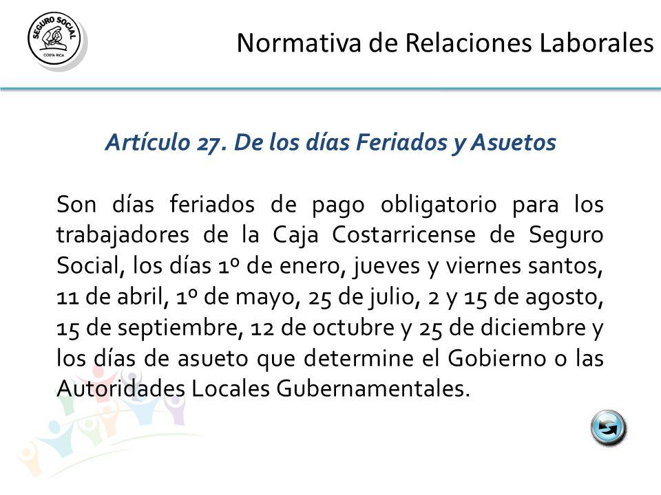 Normativa de Relaciones Laborales Artículo 27.