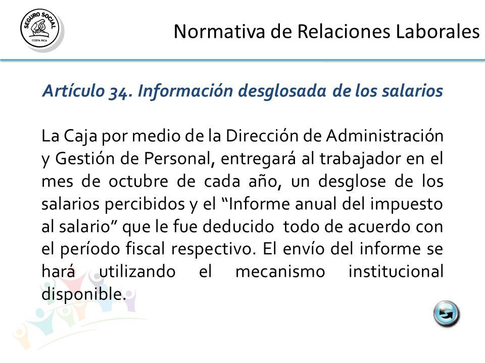 Normativa de Relaciones Laborales Artículo 34.