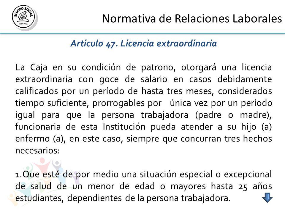 Normativa de Relaciones Laborales Articulo 47.