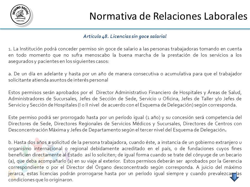 Normativa de Relaciones Laborales Artículo 48. Licencias sin goce salarial 1.