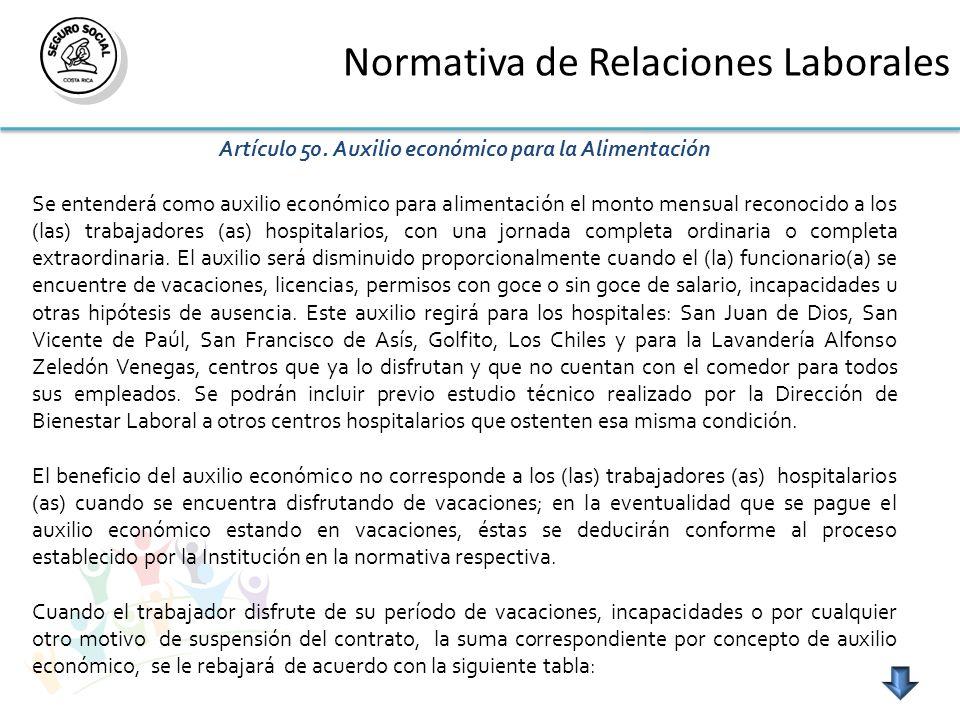 Normativa de Relaciones Laborales Artículo 50.