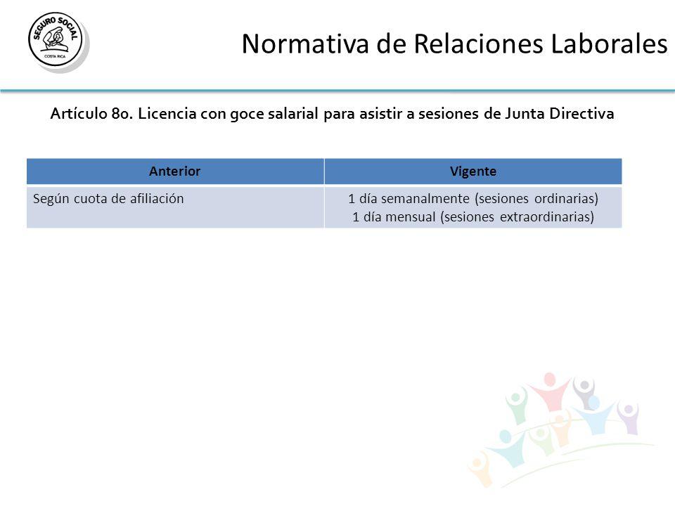 Normativa de Relaciones Laborales Artículo 80.