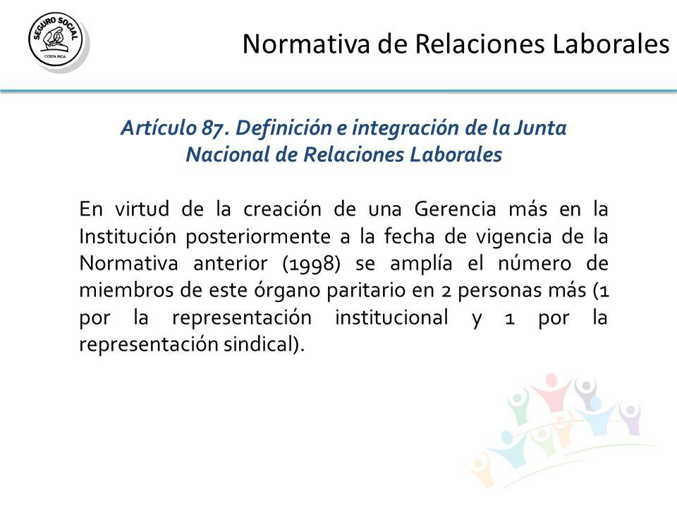 Normativa de Relaciones Laborales Artículo 87.