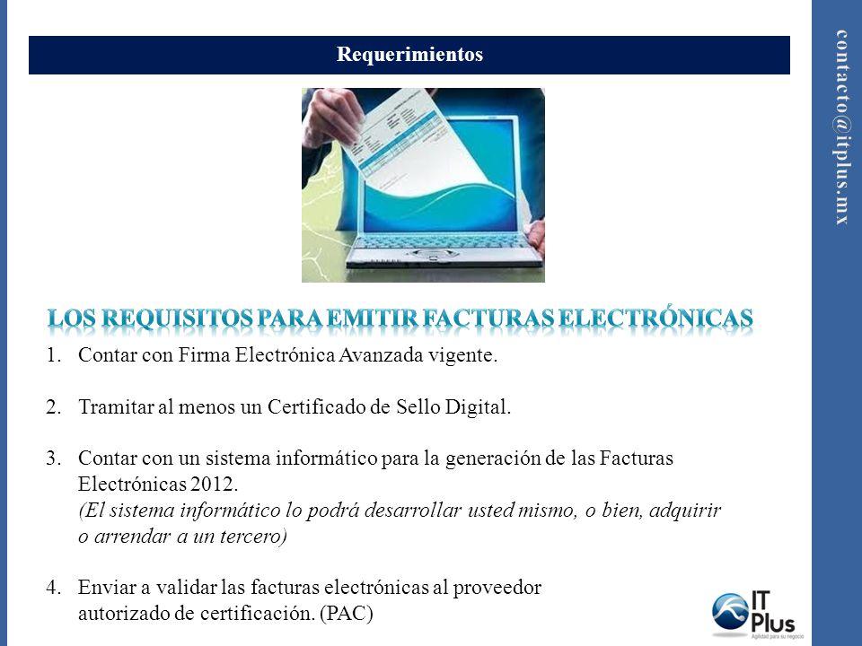 Requerimientos 1.Contar con Firma Electrónica Avanzada vigente. 2.Tramitar al menos un Certificado de Sello Digital. 3.Contar con un sistema informáti
