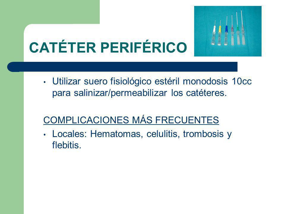 CATÉTER PERIFÉRICO Utilizar suero fisiológico estéril monodosis 10cc para salinizar/permeabilizar los catéteres.