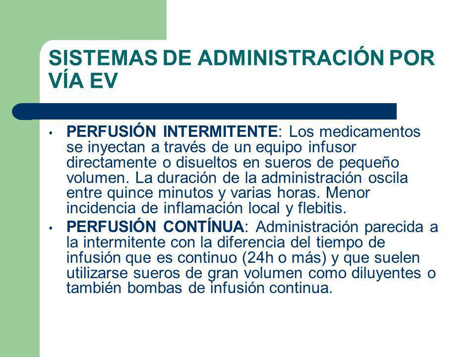 SISTEMAS DE ADMINISTRACIÓN POR VÍA EV PERFUSIÓN INTERMITENTE: Los medicamentos se inyectan a través de un equipo infusor directamente o disueltos en sueros de pequeño volumen.
