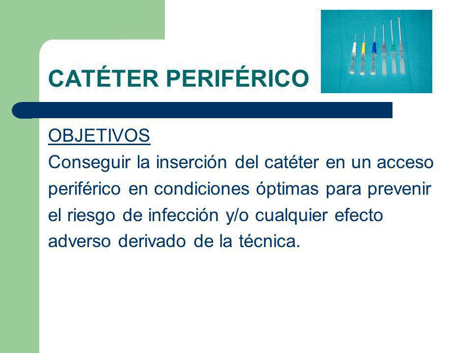 CATÉTER PERIFÉRICO OBJETIVOS Conseguir la inserción del catéter en un acceso periférico en condiciones óptimas para prevenir el riesgo de infección y/o cualquier efecto adverso derivado de la técnica.