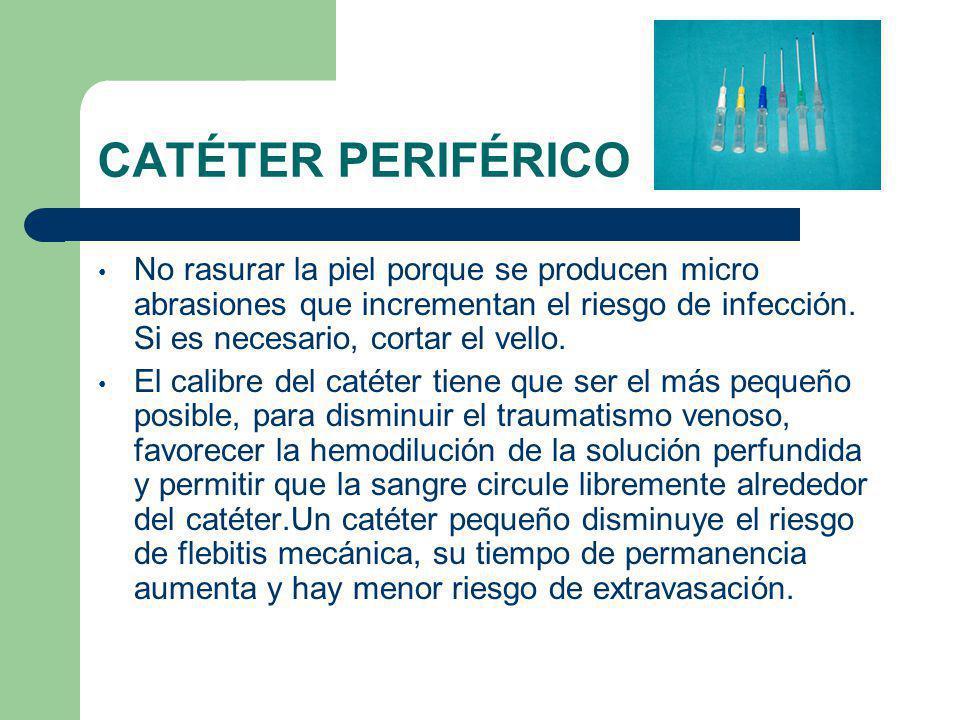 CATÉTER PERIFÉRICO No rasurar la piel porque se producen micro abrasiones que incrementan el riesgo de infección.