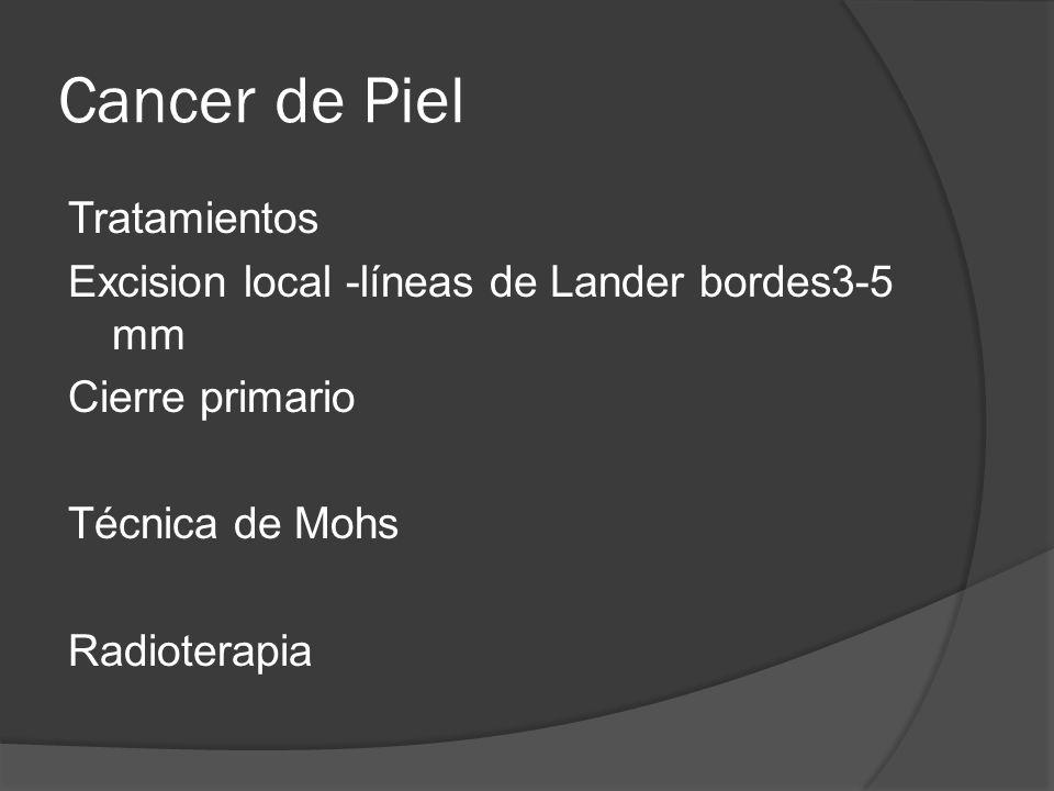 Cancer de Piel Tratamientos Excision local -líneas de Lander bordes3-5 mm Cierre primario Técnica de Mohs Radioterapia