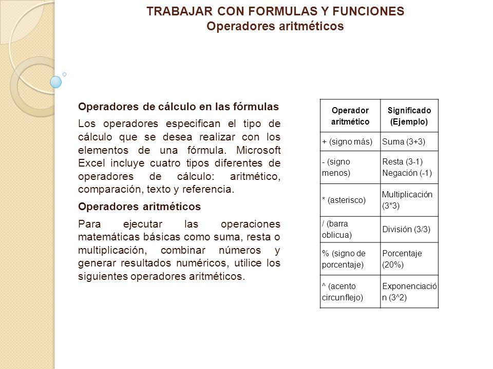 """La presentaci�n """"TRABAJAR CON FORMULAS Y FUNCIONES Operadores ..."""