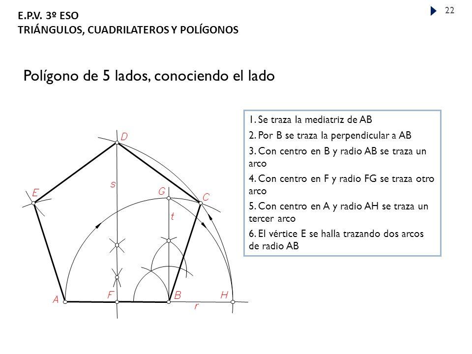 E.P.V.3º ESO TRIÁNGULOS, CUADRILATEROS Y POLÍGONOS 22 Polígono de 5 lados, conociendo el lado 1.