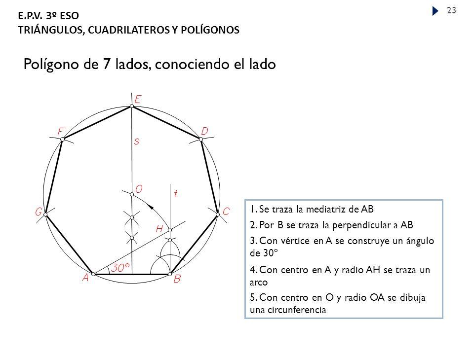 E.P.V.3º ESO TRIÁNGULOS, CUADRILATEROS Y POLÍGONOS 23 Polígono de 7 lados, conociendo el lado 1.