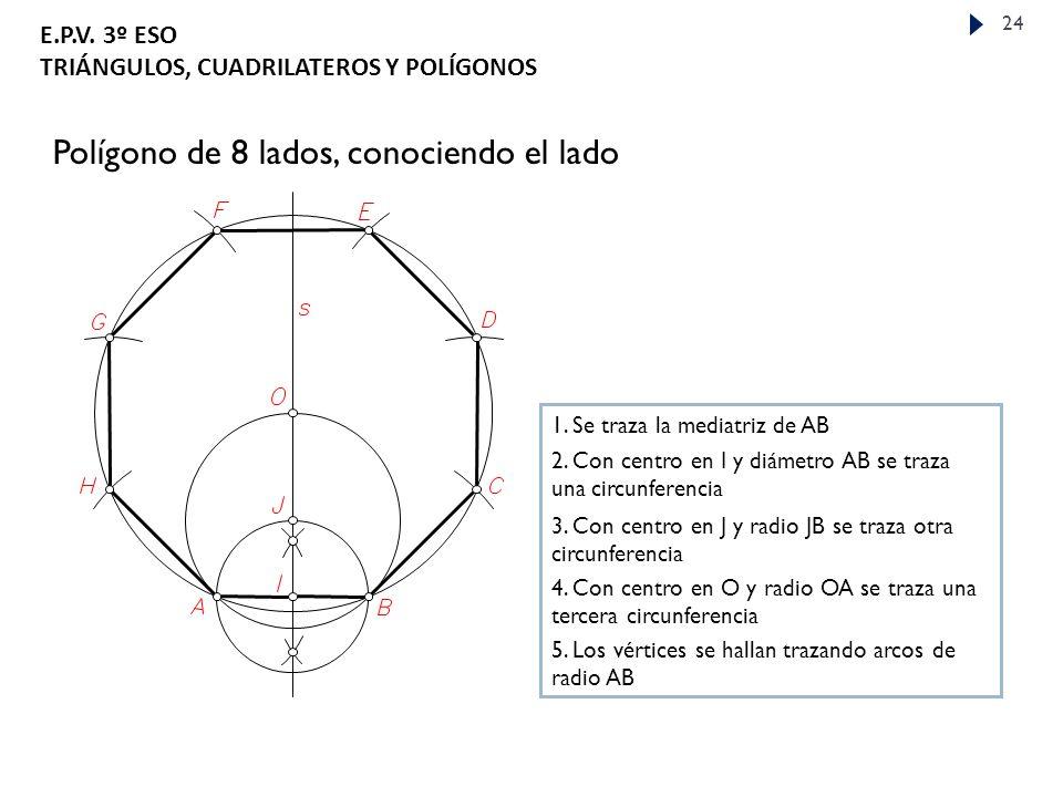 E.P.V.3º ESO TRIÁNGULOS, CUADRILATEROS Y POLÍGONOS 24 Polígono de 8 lados, conociendo el lado 1.