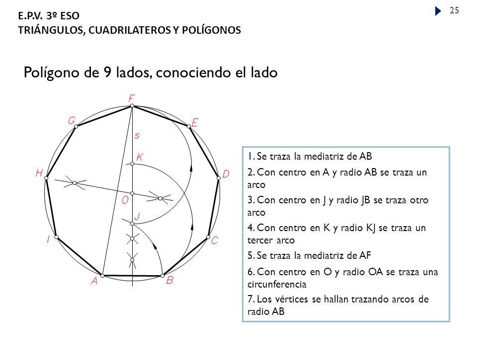 E.P.V.3º ESO TRIÁNGULOS, CUADRILATEROS Y POLÍGONOS 25 Polígono de 9 lados, conociendo el lado 1.