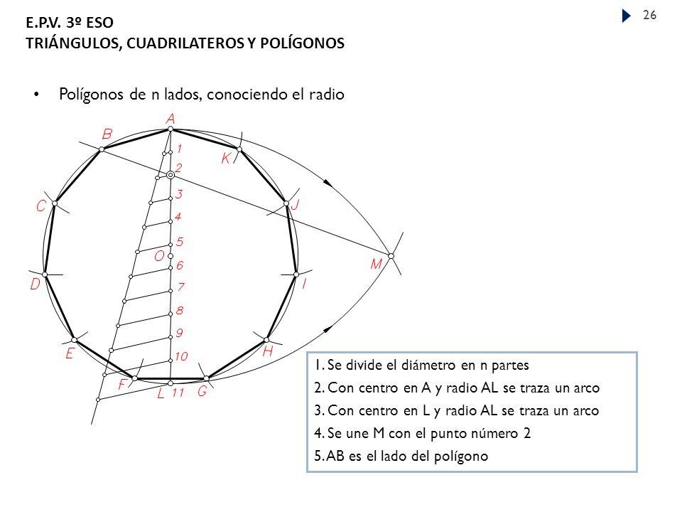 E.P.V.3º ESO TRIÁNGULOS, CUADRILATEROS Y POLÍGONOS 26 Polígonos de n lados, conociendo el radio 1.