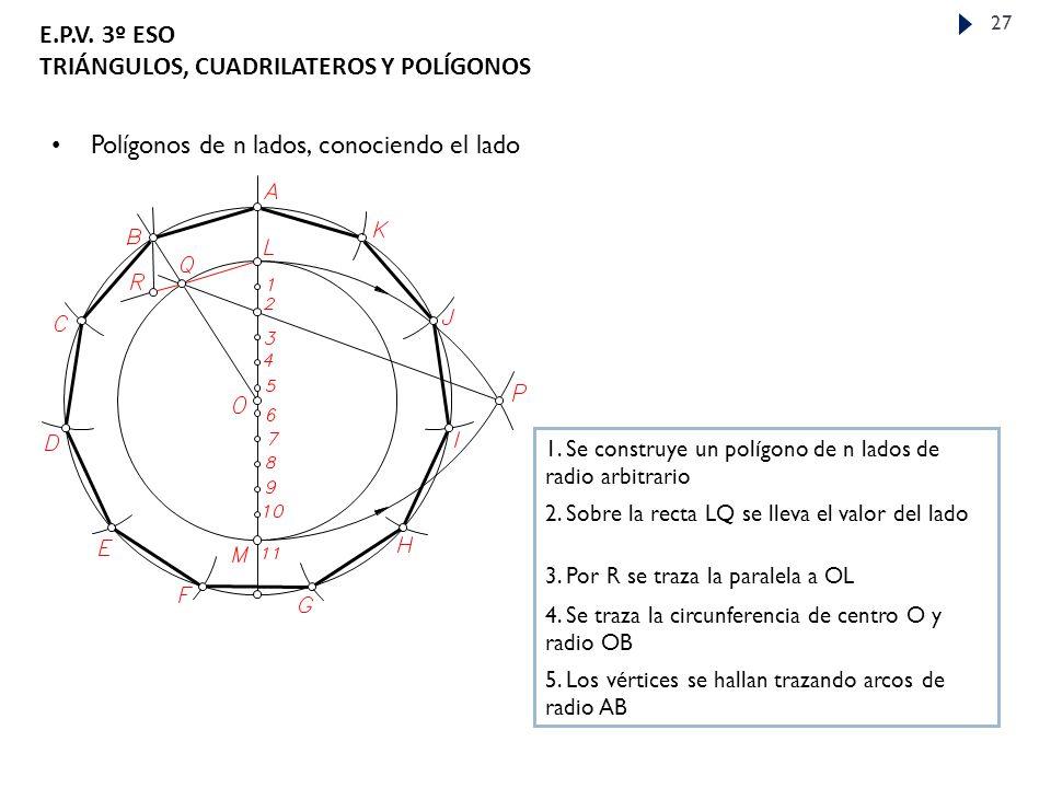 E.P.V.3º ESO TRIÁNGULOS, CUADRILATEROS Y POLÍGONOS 27 Polígonos de n lados, conociendo el lado 1.