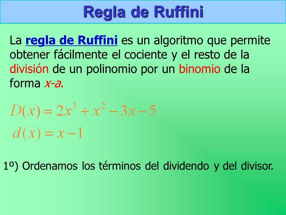 Regla de Ruffini La regla de Ruffini es un algoritmo que permite obtener fácilmente el cociente y el resto de la división de un polinomio por un binomio de la forma x-a.