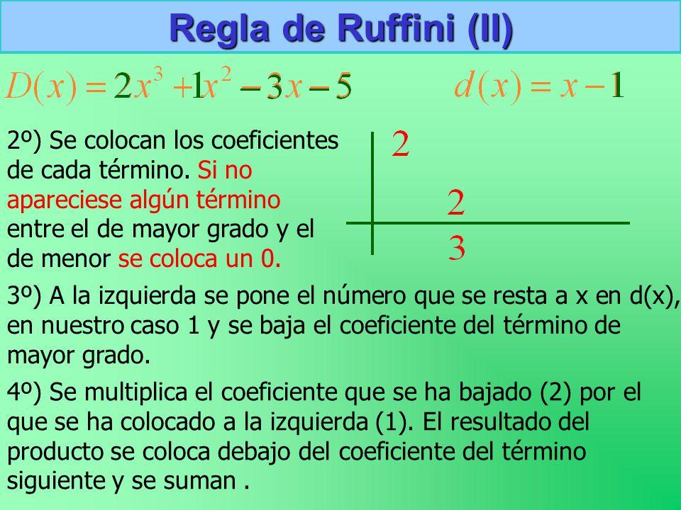 Regla de Ruffini (II) 2º) Se colocan los coeficientes de cada término.