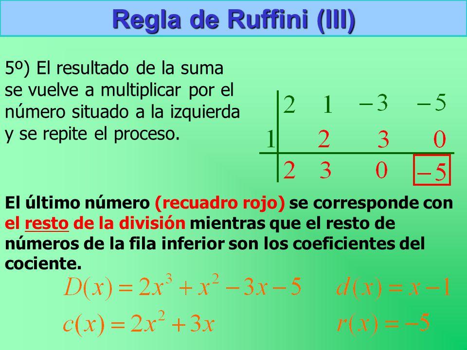 Regla de Ruffini (III) 5º) El resultado de la suma se vuelve a multiplicar por el número situado a la izquierda y se repite el proceso.