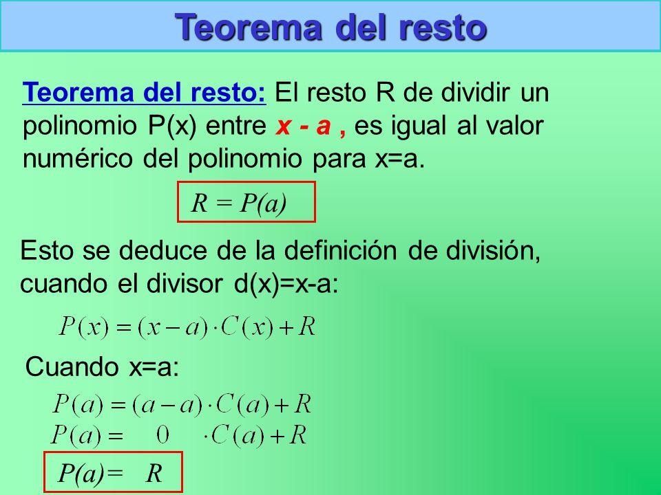 Teorema del resto Teorema del resto: El resto R de dividir un polinomio P(x) entre x - a, es igual al valor numérico del polinomio para x=a.