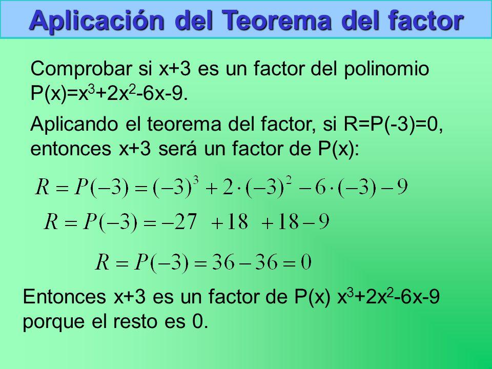Comprobar si x+3 es un factor del polinomio P(x)=x 3 +2x 2 -6x-9.