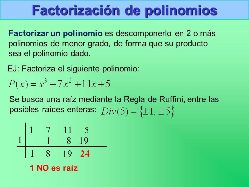 Factorización de polinomios Factorizar un polinomio es descomponerlo en 2 o más polinomios de menor grado, de forma que su producto sea el polinomio dado.