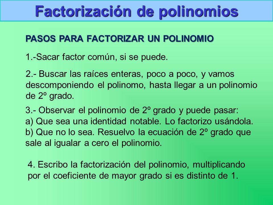 PASOS PARA FACTORIZAR UN POLINOMIO Factorización de polinomios 1.-Sacar factor común, si se puede.