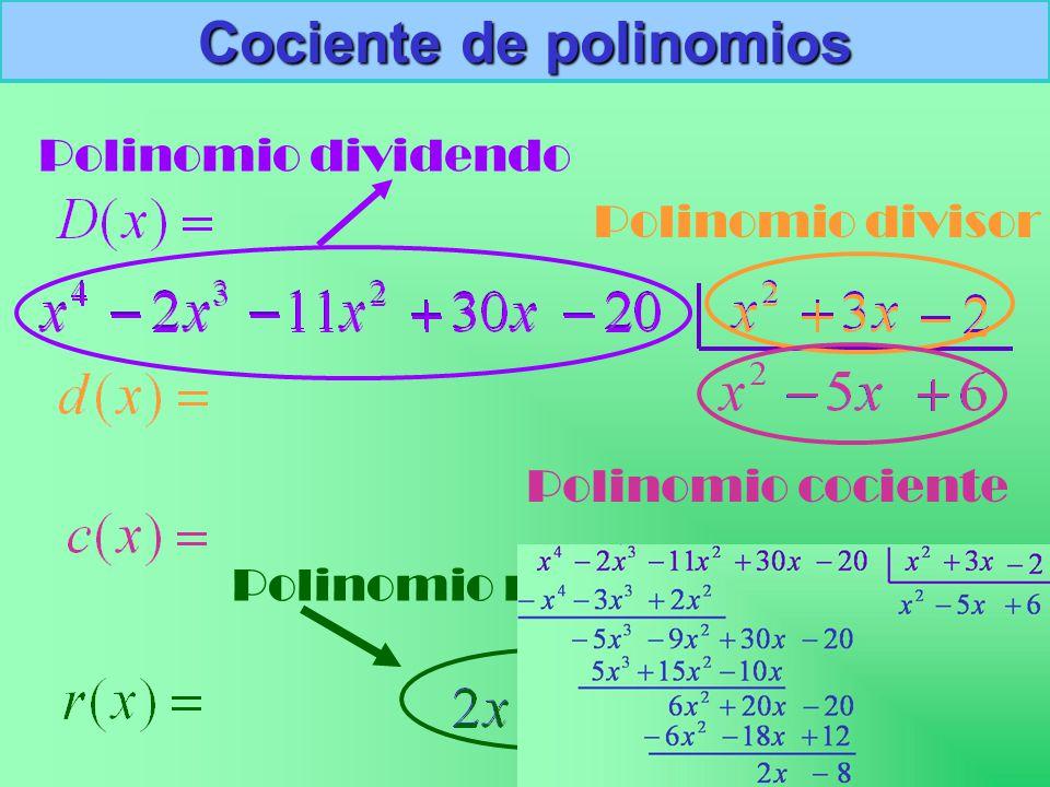 Cociente de polinomios Polinomio dividendo Polinomio divisor Polinomio cociente Polinomio resto