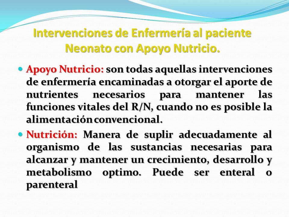 Intervenciones de Enfermería al paciente Neonato con Apoyo Nutricio. Apoyo Nutricio: son todas aquellas intervenciones de enfermería encaminadas a oto