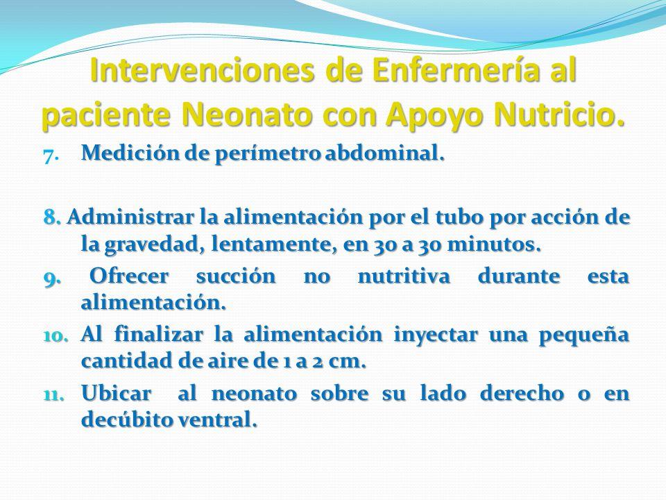 Intervenciones de Enfermería al paciente Neonato con Apoyo Nutricio. Medición de perímetro abdominal. 7.Medición de perímetro abdominal. 8. Administra