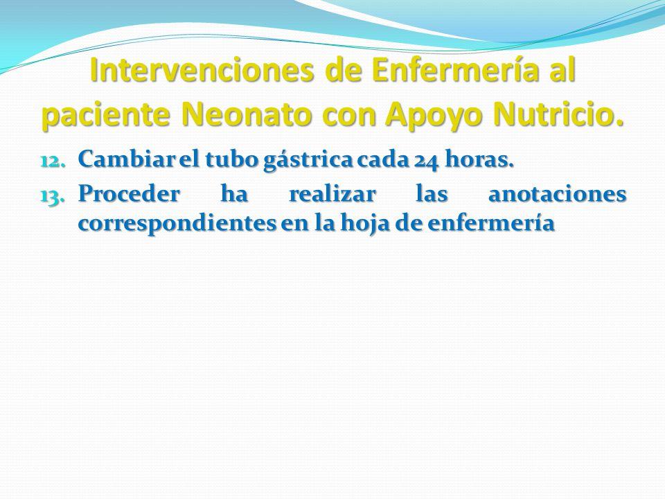 Intervenciones de Enfermería al paciente Neonato con Apoyo Nutricio. 12. Cambiar el tubo gástrica cada 24 horas. 13. Proceder ha realizar las anotacio