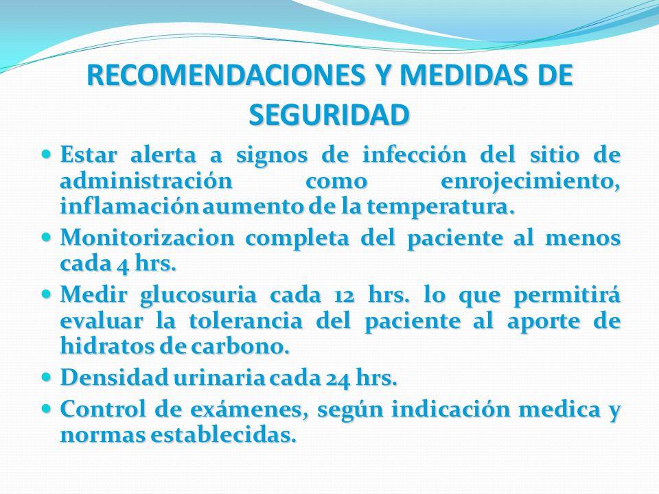 RECOMENDACIONES Y MEDIDAS DE SEGURIDAD Estar alerta a signos de infección del sitio de administración como enrojecimiento, inflamación aumento de la t